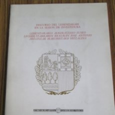 Libros: DISCURSO DEL LEHENDAKARI EN LA SESIÓN DE INVESTIDURA - VITORIA 31 ENERO 1991 -- IÑAKI AZKUNA. Lote 55935267