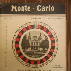 Libros: MONTE CARLO ROULETTE AÑO 1 Nº 4 - TALLAS AUTENTICAS DE 30 Y 40 - AÑO 1960 - RARO UNICO. Lote 89621184