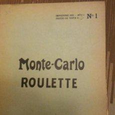Libros: MONTE CARLO ROULETTE AÑO 1 Nº 1 - SEPTIEMBRE DE 1959 / EDITORIAL FRANCO GERMANICA - ARGENTINA UNICO. Lote 89621244
