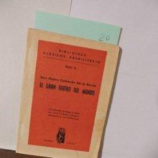 Libros: EL GRAN TEATRO DEL MUNDO. CALDERÓN DE LA BARCA, PEDRO. COL. CLASICOS BACHILLERATO. ED. CREMADES. Lote 90697825