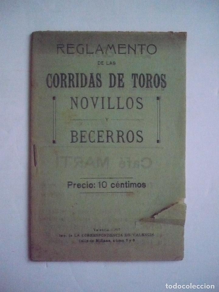 REGLAMENTO DE LAS CORRIDAS DE TOROS. NOVILLO SY BECERROS. (Libros sin clasificar)