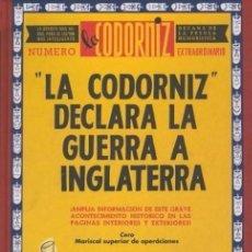 Libros: LA CODORNIZ DECLARA LA GUERRA A INGLATERRA - NUMERO EXTRAORDINARIO - EDAF. Lote 96259203