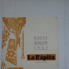 Livres: LA RÁPITA ( MONJOS).FIESTA MAYOR DE 1961.. Lote 96318063