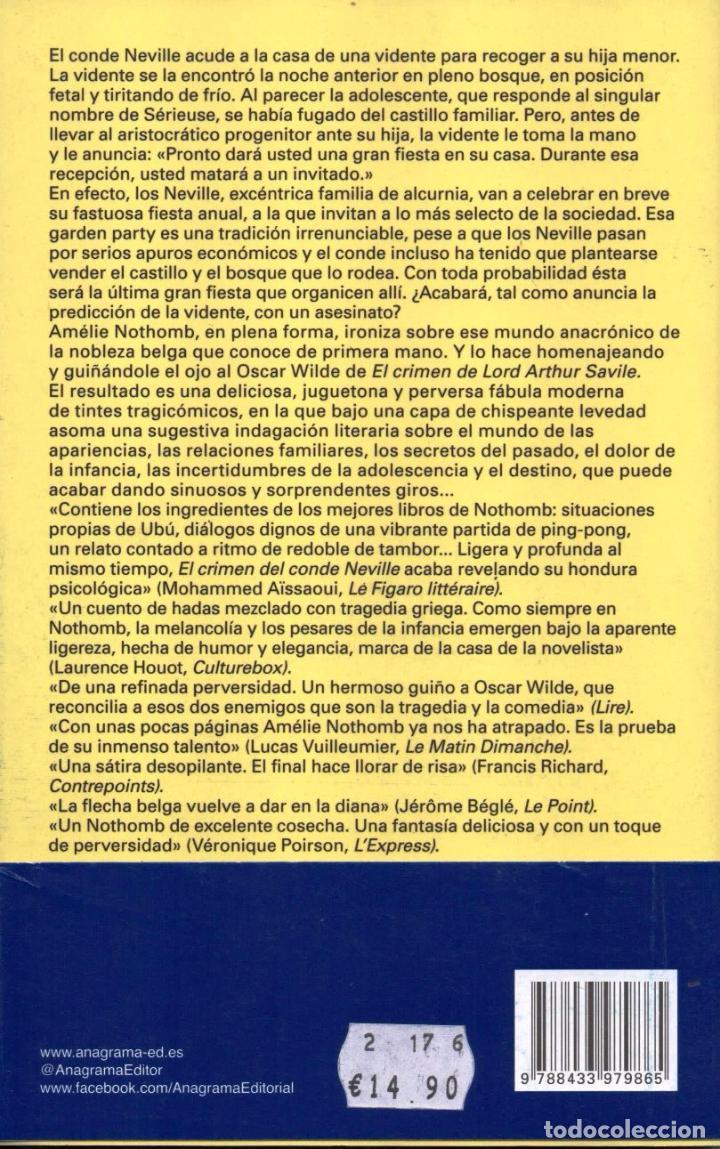 Libros: EL CRIMEN DEL CONDE NEVILLE de AMELIE NOTHOMB - ANAGRAMA, 2017 (NUEVO) - Foto 2 - 240196185