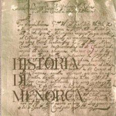 Libros: HISTORIA DE MENORCA - PONS, GUILLERMO. Lote 103657164