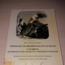 Libros: NOTAS DE UNA RESIDENCIA EN LAS ISLAS CANARIAS. Lote 103999554