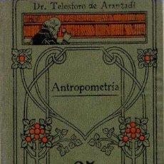Libros: ANTROPOMETRÍA - ARANZADI, TELESFORO. Lote 105792390