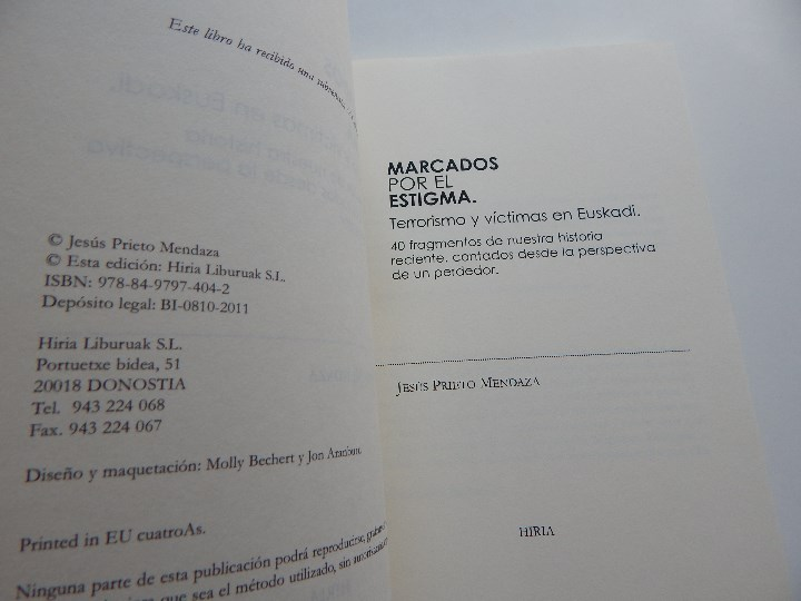 Libros: Marcados por el estigma. Terrorismo y víctimas en Euskadi - Jesús Prieto Mendaza - Foto 4 - 96564267