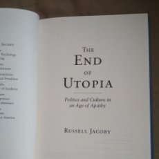 Libros: THE END OF UTOPIA. RUSSELL JACOBY. Lote 109008391