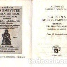 Libros: LA NIÑA DE LOS EMBUSTES - DE CASTILLO SOLORZANO, ALONSO. Lote 109725742