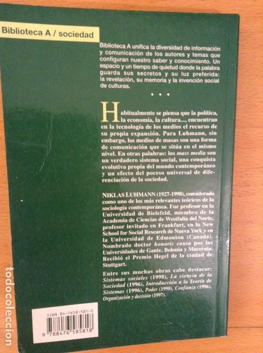 Libros: LA REALIDAD DE LOS MEDIOS DE MASAS (NIKLAS LUHMANN) ANTHROPOS - Foto 5 - 163441520