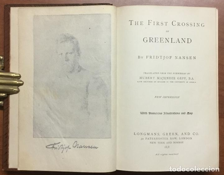 Libros: THE FIRST CROSSING OF GREENLAND. - NANSEN, Fridtjof. - Foto 2 - 109021195
