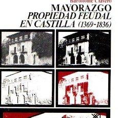 Libros: MAYORAZGO: PROPIEDAD FEUDAL EN CASTILLA - CLAVERO, BARTOLOMÉ. Lote 112588354
