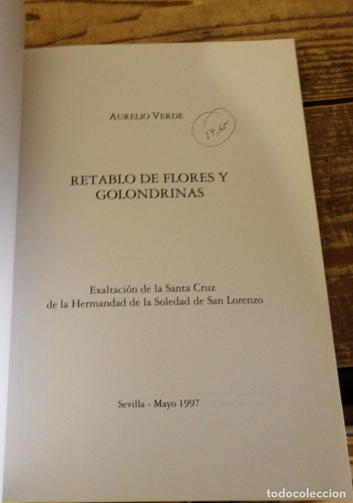 Libros: SEMANA SANTA SEVILLA,RETABLO DE FLORES Y GOLONDRINAS. VERDE, Aurelio - Foto 2 - 113151155