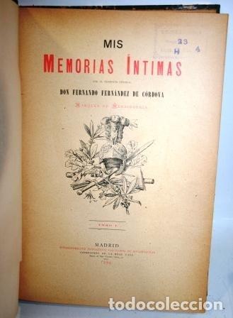 Libros: MIS MEMORIAS ÍNTIMAS. 3 tomos - FERNÁNDEZ DE CÓRDOVA, Fernando (Marqués de Mendigorría) - Foto 3 - 114868566