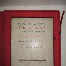 Libros: HOMENAJE AL POETA GARCIA LORCA CONTRA SU MUERTE. - PRADOS, EMILIO. VALENCIA, 1937.. Lote 117620123