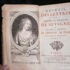 Libros: F1 RECUELL DE LETTERS DE MADAME LA MARQUISE DE SEVIGNE A MADAME LA COMTESA DE GRIGNAN AÑO 1734. Lote 121321635