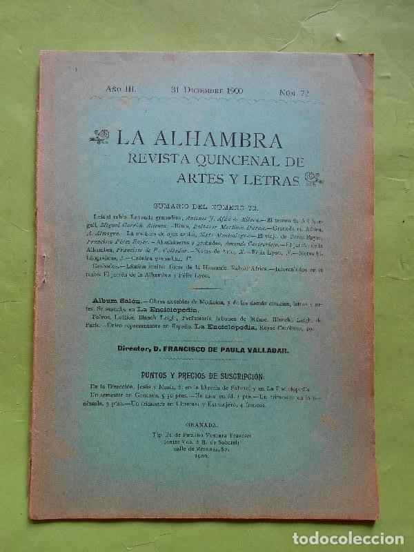 VALLADAR (FRANCISCO DE PAULA).//EL JARRÓN DE LA ALHAMBRA. UN ARTÍCULO DE 3 PÁGINAS CON GRABADITO. EN (Libros sin clasificar)