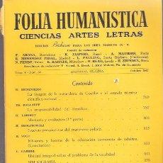 Libros: FOLIA HUMANÍSTICA. TOMO V, Nº 58, OCTUBRE - VV. AA.. Lote 141399152