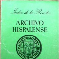 Libros: INDICE DE LA REVISTA ARCHIVO HISPALENSE - RODRÍGUEZ WAFLAR, CLARINES & TREVIÑO MARTIN, ALICIA. Lote 105487702