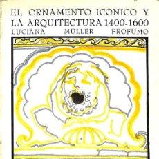 Libros: EL ORNAMENTO ICONICO Y LA ARQUITECTURA 1400 - 1600 LUCIANA MULLER PROFUMO . ENSAYOS ARTE CATEDRA. Lote 143484250
