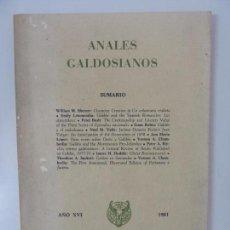 Libros: ANALES GALDOSIANOS. AÑO XVI 1981. Lote 145061678