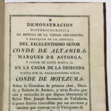 Libros: DEMONSTRACION HISTÓRICO-CRÍTICA EN DEFENSA DE LA VERDAD... CONDE DE MOTEZUMA, SOBRE... 1790. Lote 142426518