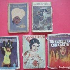 Libros: NOVELAS.-EMILIO SALGARI.-ROMULO MANUEL DE MORA.-LOTE DE 5 NOVELAS ANTIGUAS.. Lote 150286978
