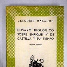 Libros: ENSAYO BIOLÓGICO SOBRE ENRIQUE IV DE CASTILLA Y SU TIEMPO. Lote 152391720