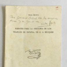 Libros: FUENTES PARA LA HISTORIA DE LOS TEMPLOS DE ESPAÑA, DE G. A. BÉCQUER. - BENITO, VIDAL.. Lote 123163747