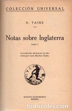 NOTAS SOBRE INGLATERRA I Y II - TAINE, H. (Libros sin clasificar)