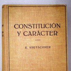 Libros: CONSTITUCIÓN Y CARÁCTER. Lote 156451376