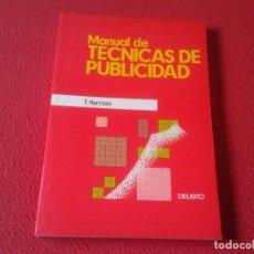 Libros: LIBRO MANUAL DE TÉCNICAS DE PUBLICIDAD T. HARRISON EDICIONES DEUSTO 1989 242 PÁGINAS VER FOTO Y DESC. Lote 157047314