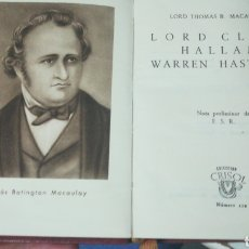Libros: LORD CLIVE HALLAM WARREN HASTINGS. CRISOLIN AGUILAR. Lote 159781972