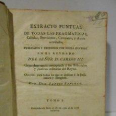 Libros: EXTRACTO PUNTUAL DE TODAS LAS PRAGMATICAS, CÉDULAS, PROVISIONES, CIRCULARES Y AUTOS ACORDADOS, PUBLI. Lote 162152584