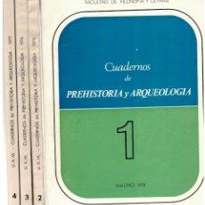 Libros: CUADERNOS DE PREHISTORIA Y ARQUEOLOGIA 1, 2, 3 Y 4 (1974, 1975, 1976, 1977) - VVAA. GRATINIANO NIETO. Lote 166399688
