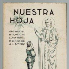 Libros: NUESTRA HOJA.ÓRGANO DEL PATRONATO DE SAN JUAN BAUTISTA DE LA SALLE.ALAYOR.AÑO 1950. (MENORCA.15.7). Lote 168137256