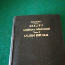 Libros: TOMOII DE CALCULO INTEGRAL DE CARLOS MATAIX. Lote 169887348