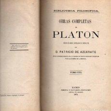 Libros: OBRAS COMPLETAS DE PLATON. TOMO VIII. - PLATON.. Lote 169994012