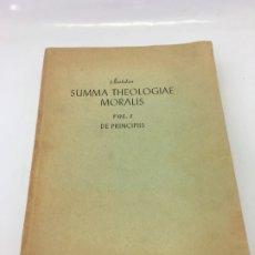 Libros: SUMMA THEOLOGIAE MORALIS, VOL.I, DE PRINCIPIIS, NOLDIN, 1956. Lote 173021332
