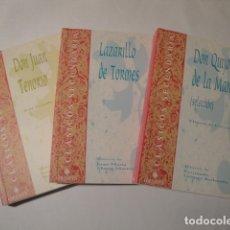 Libros: EL LAZARILLO DE TORMES, DON QUIJOTE DE LA MANCHA Y DON JUAN TENORIO. EDELVIVES. NUEVOS.. Lote 135449930