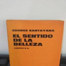 Libros: GEORGE SANTALAYA EL SENTIDO DE LA BELLEZA 1969. Lote 178885946