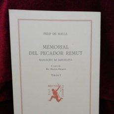 Libros: MEMORIAL DEL PECADOR REMUT. VOLUM I. EDITORIAL BARCINO. BARCELONA 1981.FUNDACIÓ JAUME I.. Lote 179144802