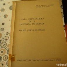 Libros: CARTA ARQUEOLOGICA EN EL PARTIDO DE BURGOS. Lote 180192143