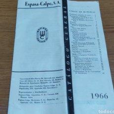 Libros: CATÁLOGO GENERAL ESPASA CALPE 1966. Lote 180199581