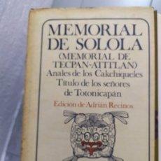 Libros: MEMORIAL DE SOLOLA . Lote 180445423