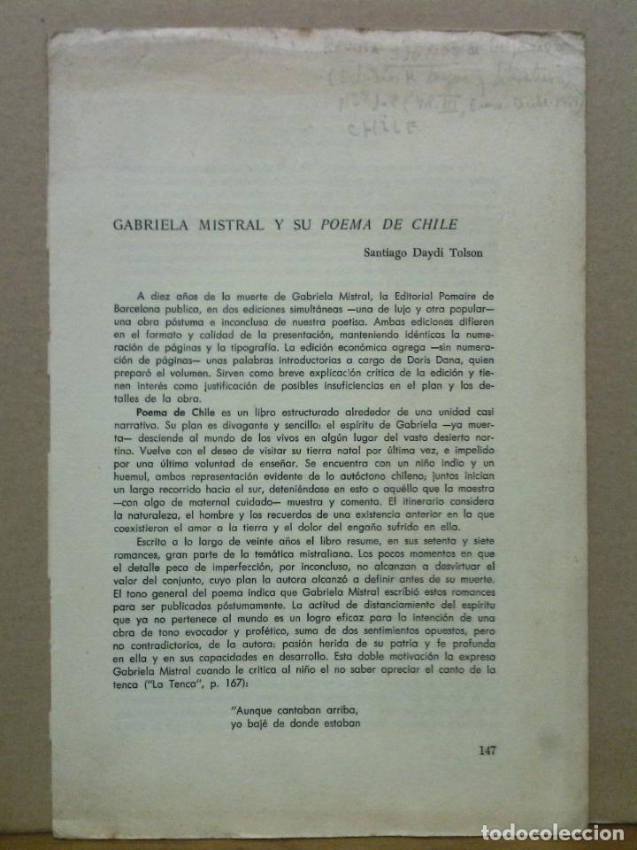 DAYDI TOLSON, SANTIAGO - GABRIELA MISTRAL Y SU POEMA DE CHILE (Libros sin clasificar)