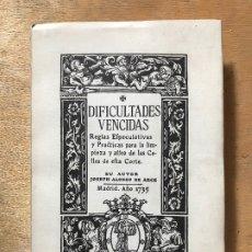 Libros: DIFICULTADES VENCIDAS. JOSEPH ALONSO DE ARCE. (EDICIÓN FACSIMIL). . Lote 182280023