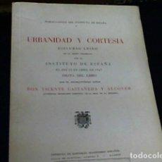 Libros: URBANIDAD Y CORTESIA - CASTAÑEDA Y ALCOVER (VICENTE). Lote 179975280
