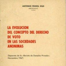 Libros: LA EVOLUCIÓN DEL CONCEPTO DEL DERECHO DE VOTO EN LAS S.A. - ANTONIO PEDROL RIUS - 1967. Lote 187397806